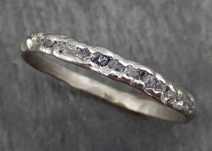 Raw Rough Uncut Diamond Wedding Band 14k white Gold Diamond Wedding Ring byAngeline C0371