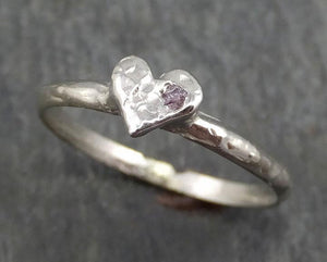 Raw rough Conflict Free Pink Diamond White Heart Ring byAngeline 0372