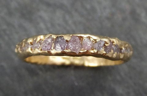 Custom Raw Rough Uncut Pink Diamond Multi stone Wedding Band 14k Gold Wedding Ring byAngeline C0373 - Gemstone ring by Angeline