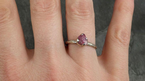 Raw Rough Ruby Solitaire Ring 14k white gold red Gemstone Engagement birthstone Ring byAngeline 0375 - Gemstone ring by Angeline