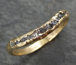 Raw Rough Uncut Contour Diamond Wedding Band 14k Gold Diamond Wedding Ring byAngeline C0376