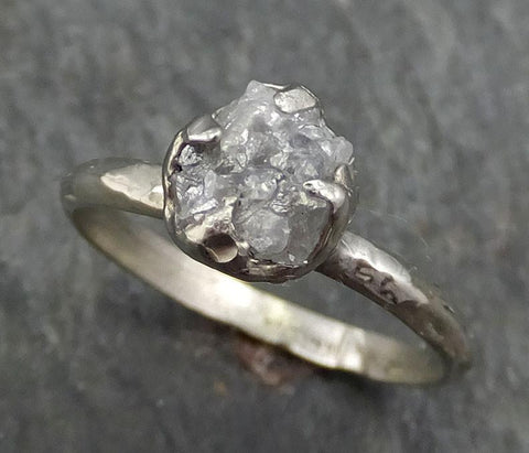 Raw Rough Uncut Diamond Engagement Ring Rough Diamond Solitaire 14k white gold Conflict Free Diamond Wedding Promise byAngeline 0379 - Gemstone ring by Angeline
