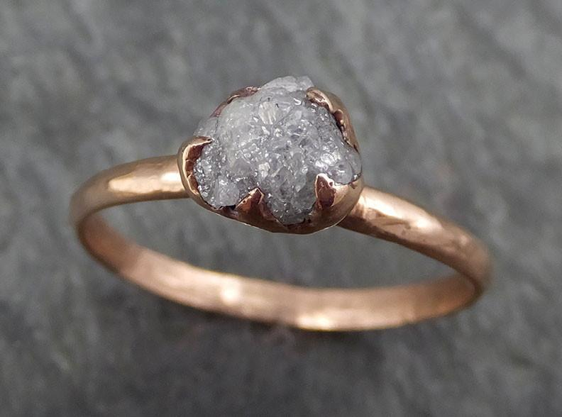 Raw Diamond Solitaire Engagement Ring Rough 14k rose Gold Wedding Ring diamond Stacking Ring Rough Diamond Ring byAngeline 0381 - Gemstone ring by Angeline