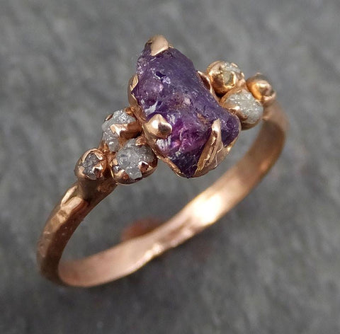 Raw Sapphire Diamond Gold Engagement Ring Multi stone Wedding Ring Custom One Of a Kind Purple Pink Gemstone Ring Three stone Ring byAngeline 0384 - Gemstone ring by Angeline