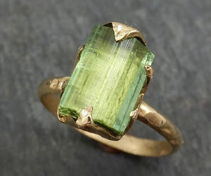 Raw Green Tourmaline yellow Gold Ring Rough Uncut Gemstone tourmaline recycled 14k stacking cocktail statement byAngeline 0385