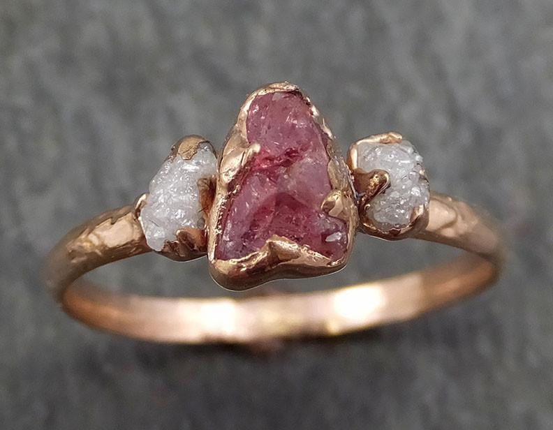 Raw Sapphire Diamond Gold Engagement Ring Multi stone Wedding Ring Custom One Of a Kind Pink Gemstone Ring Three stone Ring byAngeline 0386 - Gemstone ring by Angeline