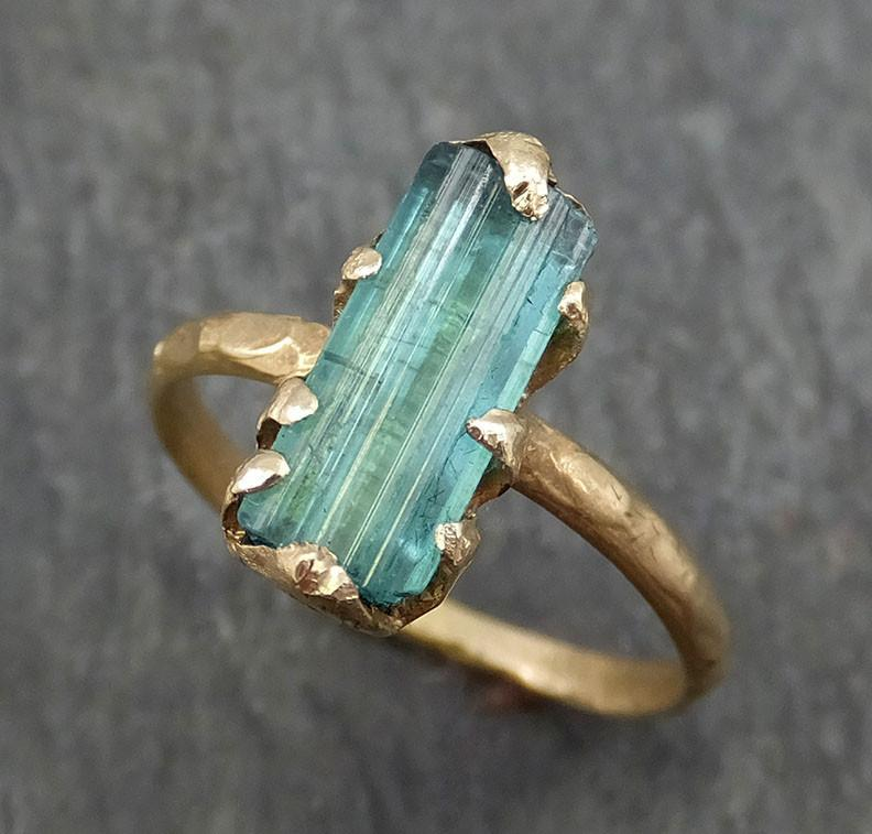 Raw Blue Green Tourmaline yellow Gold Ring Rough Uncut Gemstone solitaire tourmaline recycled 14k stacking cocktail statement byAngeline 0387 - Gemstone ring by Angeline
