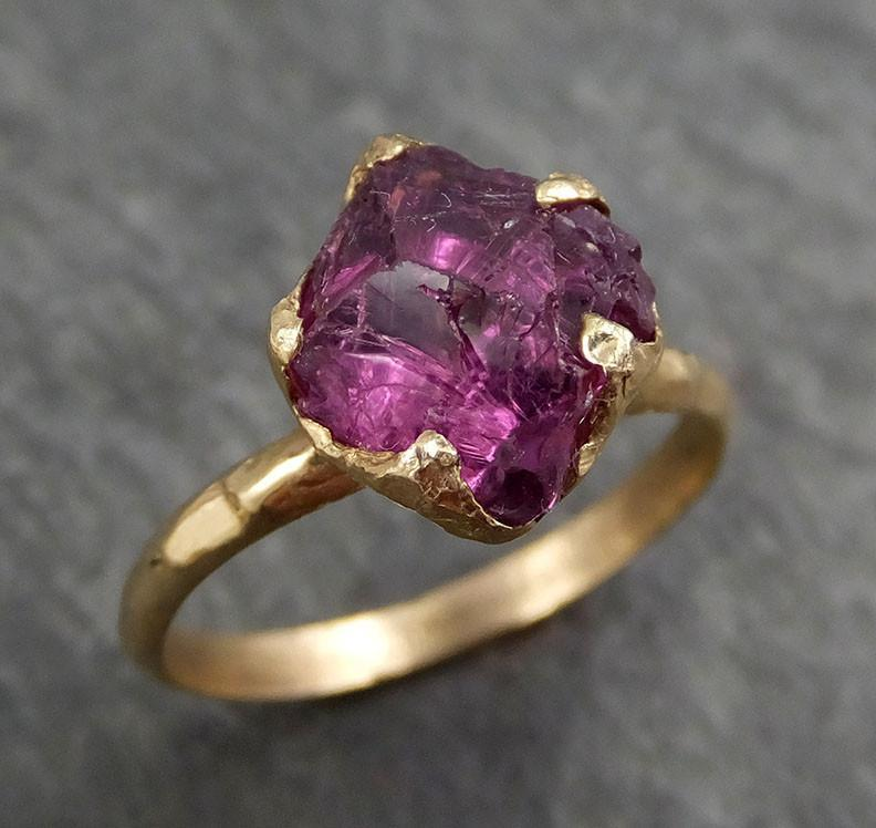 Rough Raw Natural Pink Pyrope Garnet Gemstone ring Recycled 14k yellow Gold One of a kind Gemstone ring byAngeline 0388 - Gemstone ring by Angeline