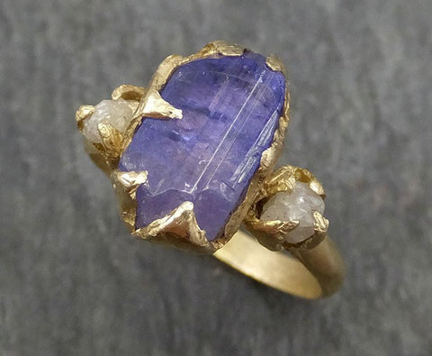 Raw Diamond Tanzanite Crystal Gemstone 14k Ring Multi stone Wedding Ring One Of a Kind Three stone Ring byAngeline 0389 - Gemstone ring by Angeline