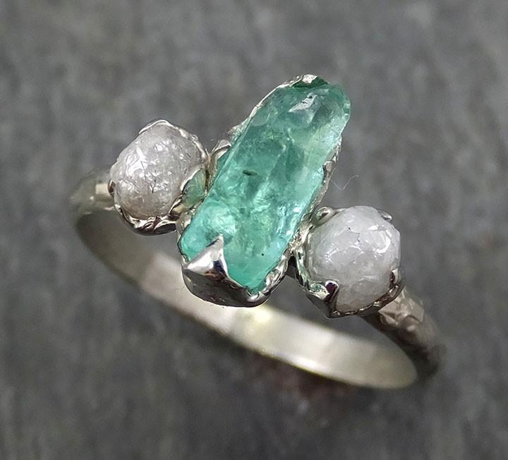Raw Rough Emerald Conflict Free Diamonds Multi stone  White Gold Ring One Of a Kind Gemstone Engagement Wedding Ring Recycled gold byAngeline  0390 - Gemstone ring by Angeline