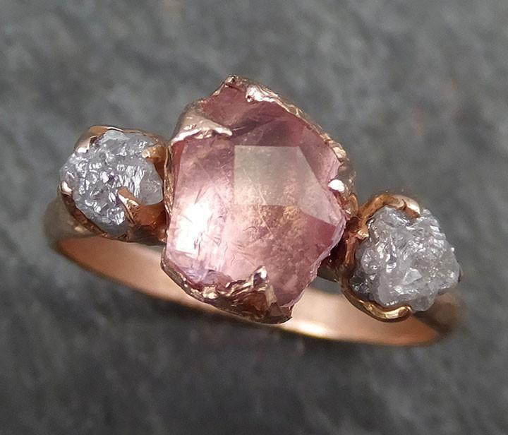Raw Rough and partially Faceted Pink Topaz Diamond 14k rose Gold Ring One Of a Kind Gemstone Ring Recycled gold byAngeline 0392 - Gemstone ring by Angeline