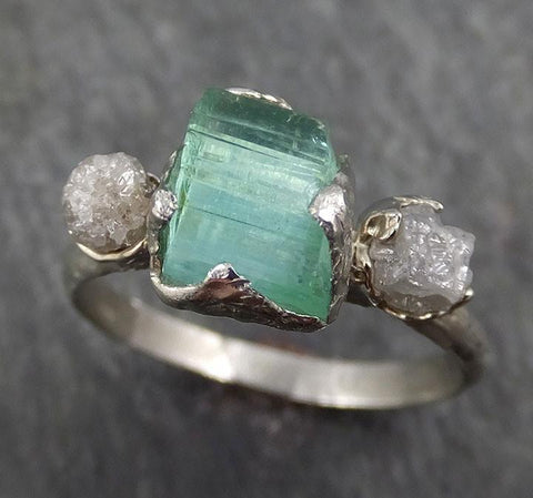 Raw Sea Green Tourmaline Diamond Multi stone Multi stone White Gold Ring Rough Uncut Gemstone tourmaline recycled 14k Engagement Wedding Ring 0393 - Gemstone ring by Angeline