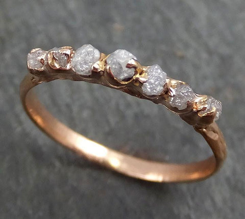 Dainty Raw Diamond Rose gold Engagement Ring multi stone Rough Gold Wedding Ring diamond Wedding Ring Rough Diamond Ring byAngeline 0398.1 - Gemstone ring by Angeline