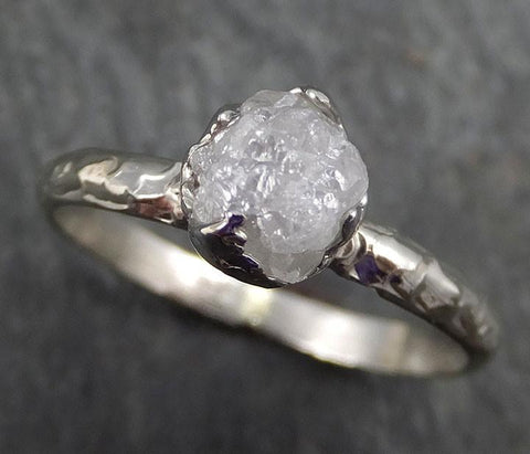 Raw Rough Uncut Diamond Engagement Ring Rough Diamond Solitaire 14k white gold Conflict Free Diamond Wedding Promise byAngeline 0399 - Gemstone ring by Angeline