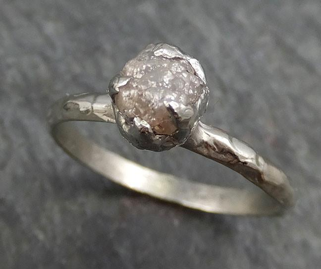 Raw Rough Uncut Diamond Engagement Ring Rough Diamond Solitaire 14k white gold Conflict Free Diamond Wedding Promise byAngeline 0402 - Gemstone ring by Angeline