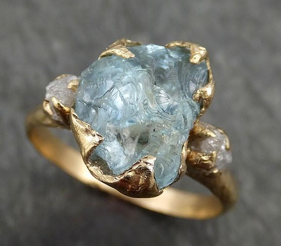 Raw Uncut Aquamarine Diamond Gold Engagement Ring Wedding 14k Ring Custom One Of a Kind Gemstone Bespoke Three stone Ring byAngeline 0407 - Gemstone ring by Angeline