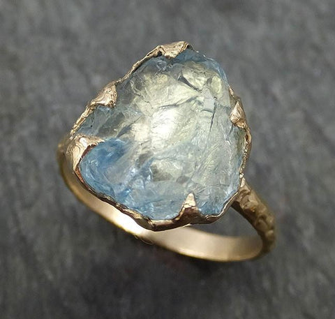 Raw Uncut Aquamarine Ring Solid 14k Gold Ring wedding engagement Rough Gemstone Ring Statement Ring Stacking byAngeline 0409 - Gemstone ring by Angeline