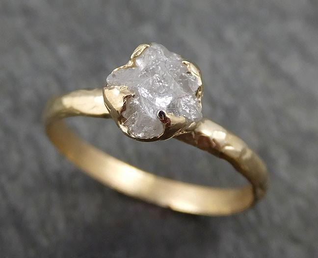Raw Diamond Engagement Ring Rough Uncut Diamond Solitaire Recycled 14k gold Conflict Free Diamond Wedding Promise byAngeline 0410 - Gemstone ring by Angeline