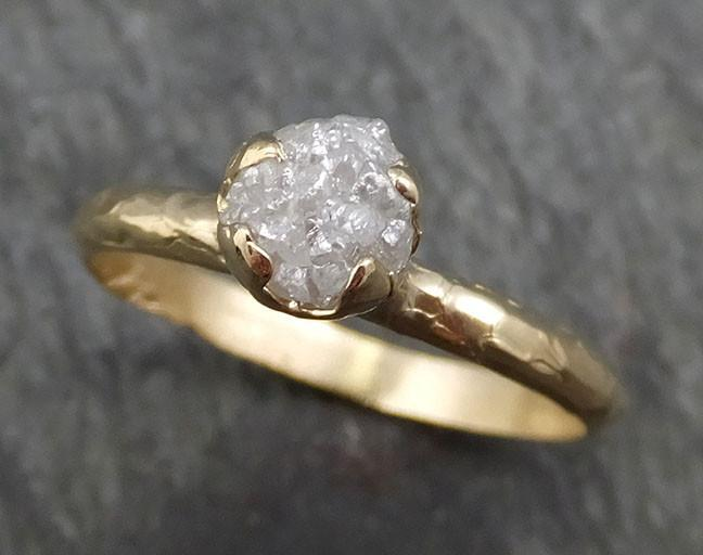 Raw Diamond Engagement Ring Rough Uncut Diamond Solitaire Recycled 14k yellow gold Conflict Free Diamond Wedding Promise byAngeline 0412 - Gemstone ring by Angeline