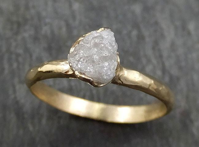 Raw Diamond Engagement Ring Rough Uncut Diamond Solitaire Recycled 14k yellow gold Conflict Free Diamond Wedding Promise byAngeline 0413 - Gemstone ring by Angeline