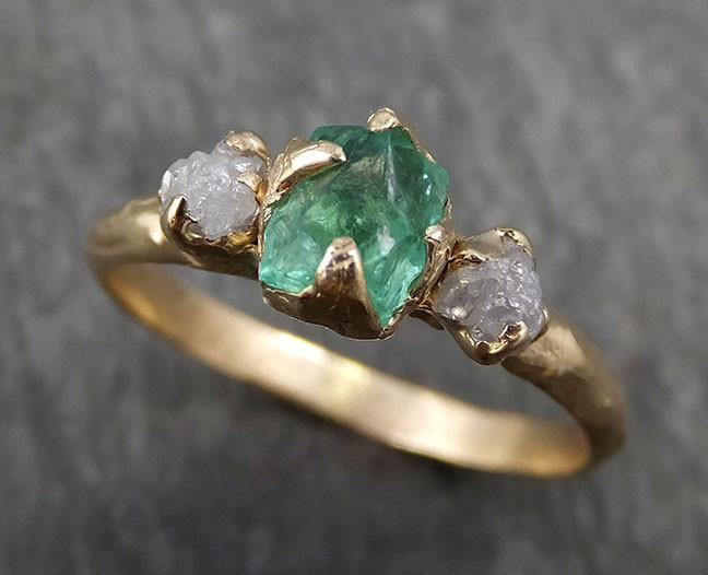 Three raw Stone Diamond Emerald Engagement Ring 14k Gold Multi stone Wedding Ring Uncut Birthstone Stacking Ring Rough Diamond Ring byAngeline 0415 - Gemstone ring by Angeline