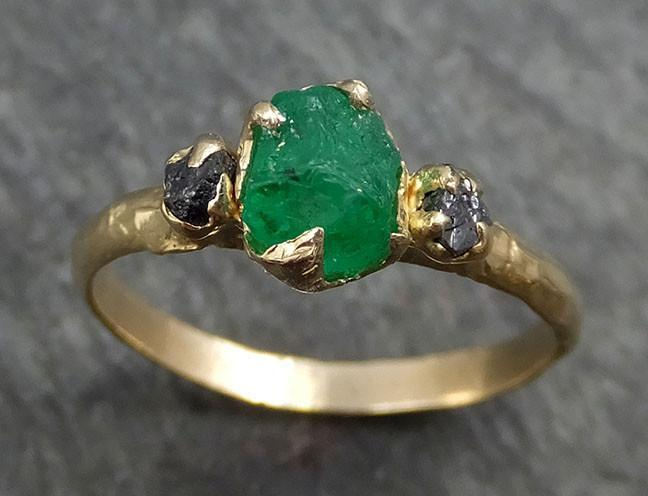 Three raw Stone Diamond Emerald Gemstone Engagement Ring 14k yellow Gold Multi stone Wedding Ring Uncut Birthstone Stacking Ring Rough Black Diamond byAngeline 0416 - Gemstone ring by Angeline