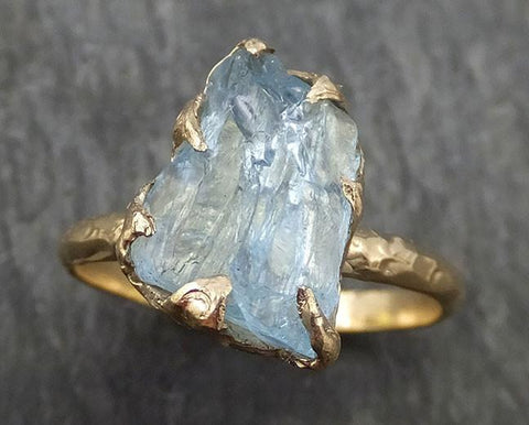 Raw Uncut Aquamarine Ring Solid 14k Gold Ring wedding engagement Rough Gemstone Ring Statement Ring Stacking byAngeline 0418 - Gemstone ring by Angeline