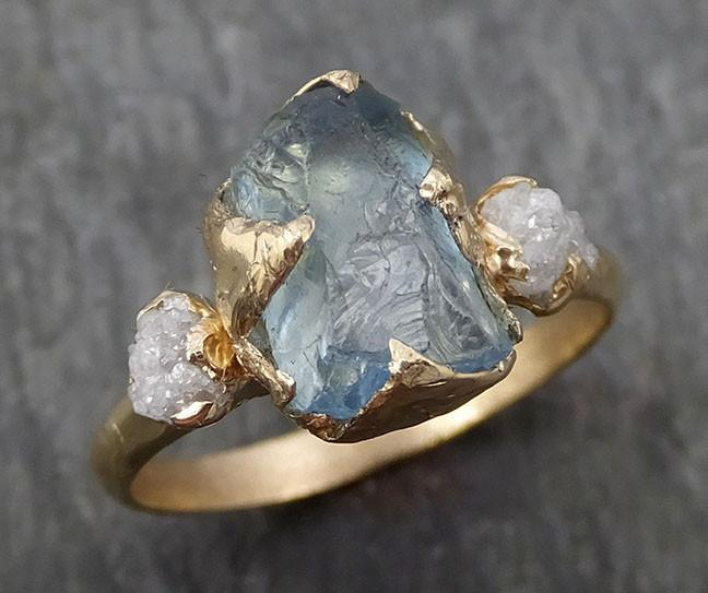 Raw Uncut Aquamarine Diamond Gold Engagement Ring Wedding 14k Ring Custom One Of a Kind Gemstone Bespoke Three stone Ring byAngeline 0419 - Gemstone ring by Angeline