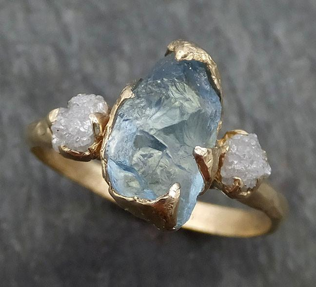 Raw Uncut Aquamarine Diamond Gold Engagement Ring Wedding 14k Ring Custom One Of a Kind Gemstone Bespoke Three stone Ring byAngeline 0420 - Gemstone ring by Angeline