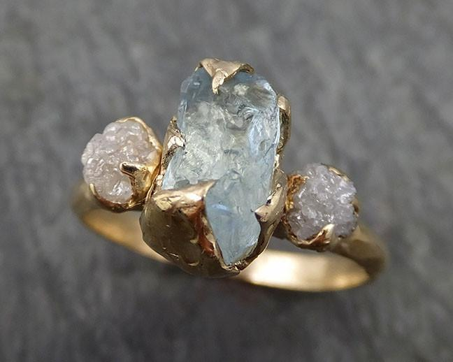Raw Uncut Aquamarine Diamond yellow Gold Engagement Ring Multi stone Wedding 14k Ring Custom One Of a Kind Gemstone Bespoke Three stone Ring byAngeline 0420 - Gemstone ring by Angeline