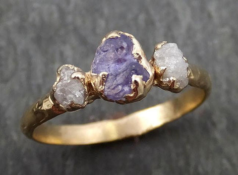 Raw Sapphire Diamond yellow Gold Engagement Ring purple lavender Multi stone Wedding Ring Custom One Of a Kind Gemstone Ring Three stone Ring byAngeline 0422 - Gemstone ring by Angeline