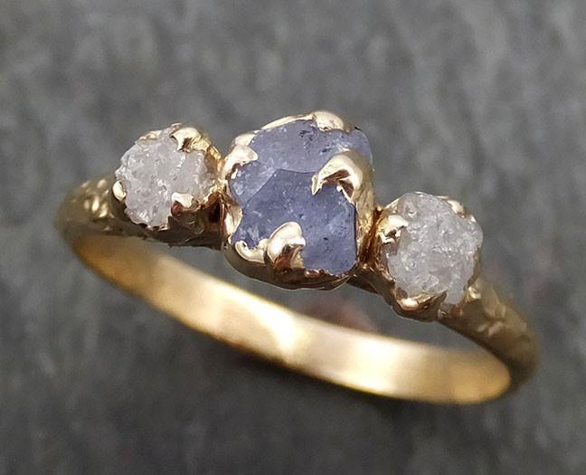 Raw Sapphire Diamond yellow Gold Engagement Ring blue lavender Multi stone Wedding Ring Custom One Of a Kind Gemstone Ring Three stone Ring byAngeline 0423 - Gemstone ring by Angeline