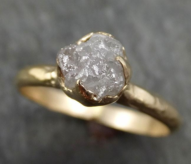 Raw Diamond Engagement Ring Rough Uncut Diamond Solitaire Recycled 14k yellow gold Conflict Free Diamond Wedding Promise byAngeline 0425 - Gemstone ring by Angeline