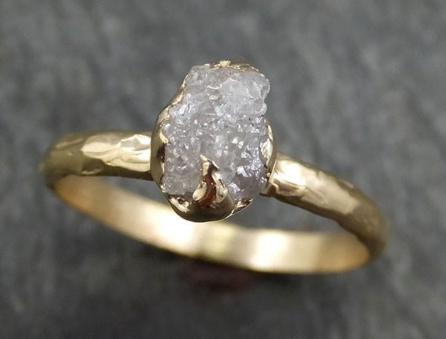 Raw Diamond Engagement Ring Rough Uncut Diamond Solitaire Recycled 14k yellow gold Conflict Free Diamond Wedding Promise byAngeline 0428 - Gemstone ring by Angeline