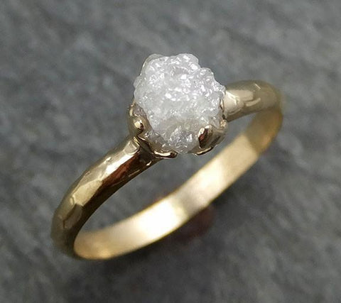 Raw Diamond Engagement Ring Rough Uncut Diamond Solitaire Recycled 14k gold Conflict Free Diamond Wedding Promise byAngeline 0432 - Gemstone ring by Angeline