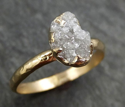 Raw Diamond Engagement Ring Rough Uncut Diamond Solitaire Recycled 14k gold Conflict Free Diamond Wedding Promise byAngeline 0433 - Gemstone ring by Angeline