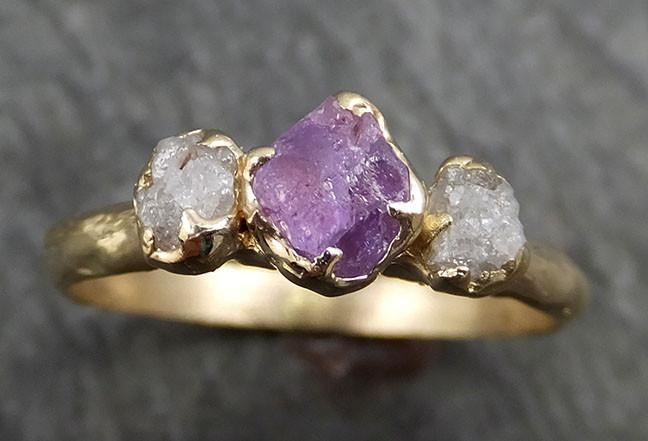 Raw Sapphire Diamond yellow Gold Engagement Ring purple lavender Multi stone Wedding Ring Custom One Of a Kind Gemstone Ring Three stone Ring byAngeline 0435 - Gemstone ring by Angeline