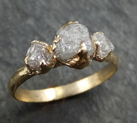 Raw Rough Diamond gold Engagement Multi stone Three Ring Rough Gold Wedding Ring diamond Wedding Ring Rough Diamond Ring byAngeline 0436 - Gemstone ring by Angeline