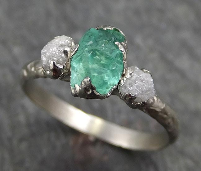 Three raw Stone Diamond Emerald Engagement Ring 14k Multi stone white Gold Wedding Ring Uncut Birthstone Stacking Rough Diamond Ring byAngeline 0437 - Gemstone ring by Angeline