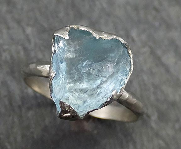 Raw Uncut Aquamarine Heart Ring Solid 14K White Gold Ring wedding engagement Rough Gemstone Ring Statement Ring Stacking Birthstone 0438 - Gemstone ring by Angeline