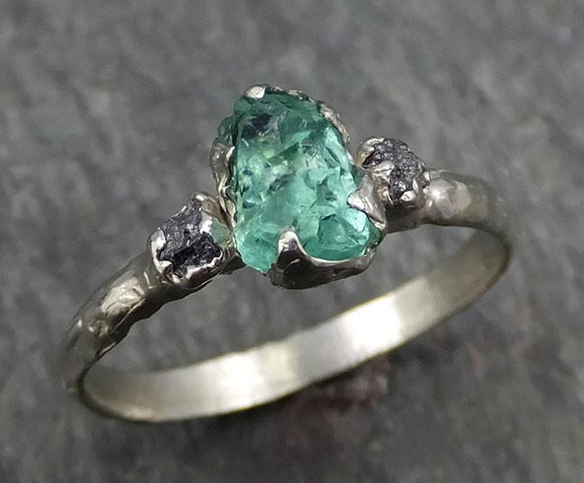 Three raw Stone Black Diamond Emerald Engagement Ring 14k white Gold Multi stone Wedding Ring Uncut Birthstone Stacking Rough Diamond byAngeline 0439 - Gemstone ring by Angeline