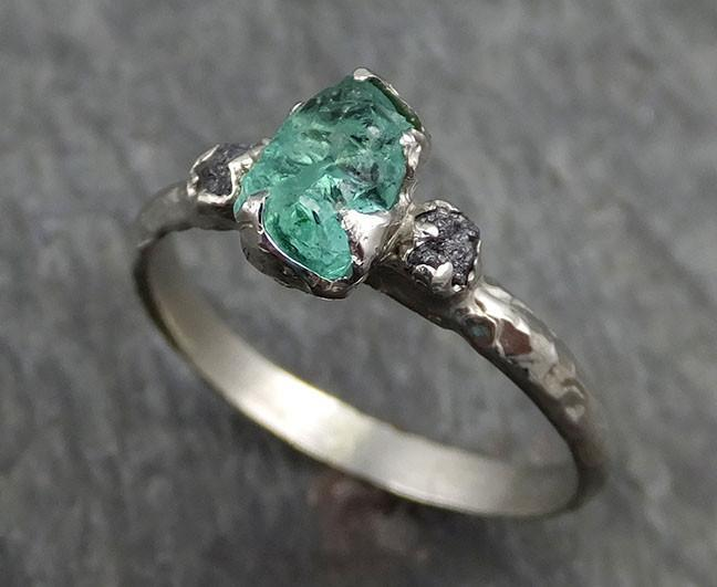 2847902f63ff4 Three raw Stone Black Diamond Emerald Engagement Ring 14k white Gold ...