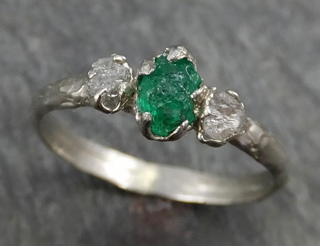 Three raw Stone Diamond Emerald Engagement Ring 14k white Gold multi stone Wedding Ring Uncut Birthstone Stacking Rough Diamond Ring byAngeline 0440 - Gemstone ring by Angeline