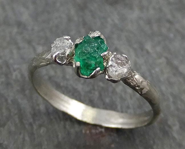 Three Raw Stone Diamond Emerald Engagement Ring 14k White