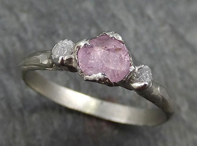 Raw Sapphire Diamond White Gold Engagement Ring Pink Wedding Ring Custom One Of a Kind Gemstone Ring Three stone Ring byAngeline 0442 - Gemstone ring by Angeline
