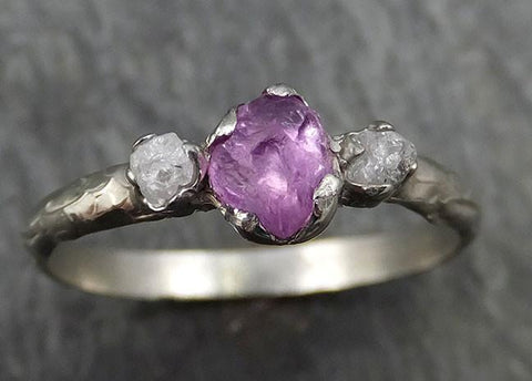 Raw Sapphire Diamond White Gold Engagement Ring Purple Multi stone Wedding Ring Custom One Of a Kind Gemstone Ring Three stone Ring byAngeline 0444 - Gemstone ring by Angeline