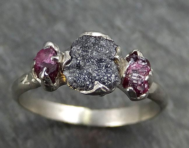 Raw Rough Black Diamond Ruby Multi Stone Ring 14k White Gold red Gemstone Engagement birthstone Ring byAngeline 0447 - Gemstone ring by Angeline