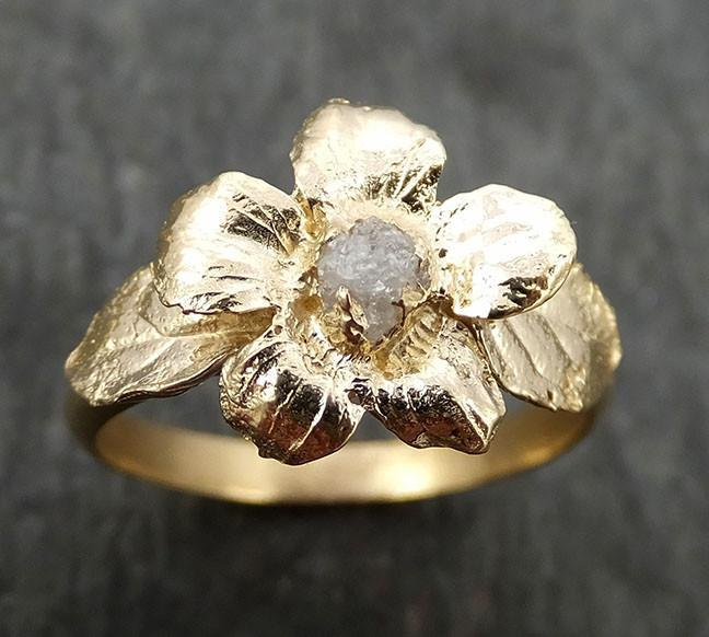 Real Flower Raw rough Diamond 14k gold wedding engagement ring Enchanted Garden Floral Ring byAngeline 0448 - Gemstone ring by Angeline