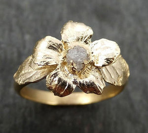 Real Flower Raw rough Diamond 14k gold wedding engagement ring Enchanted Garden Floral Ring byAngeline 0448