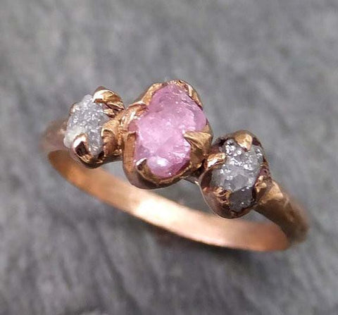 Raw Sapphire Diamond Rose Gold Engagement Ring Multi stone Wedding Ring Custom One Of a Kind Pink Gemstone Ring Three stone Ring byAngeline 0027 - Gemstone ring by Angeline